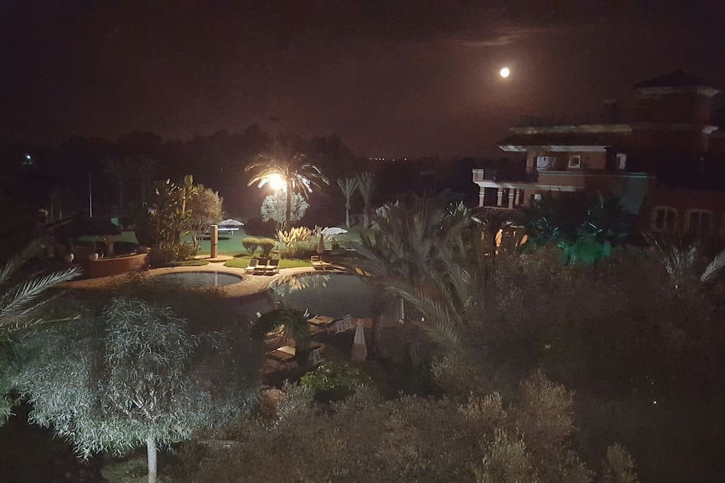 vue des jardins prise la nuit  du balcon