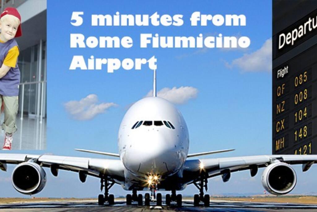 Just 5 minutes from Rome Fiumicino Leonardo da Vinci airport .