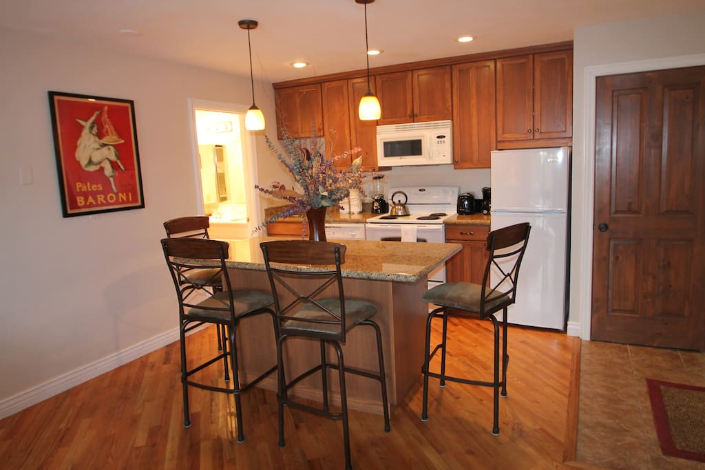 Dining area and remodeled kitchen