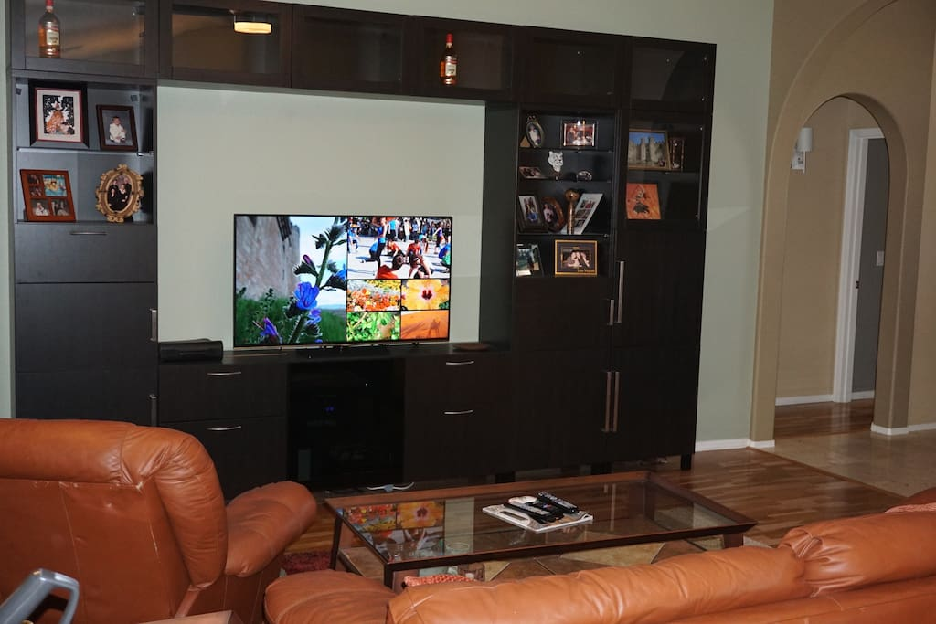 Living room TV has access to many streaming services including HBO, Netflix, Hulu, Amazon.