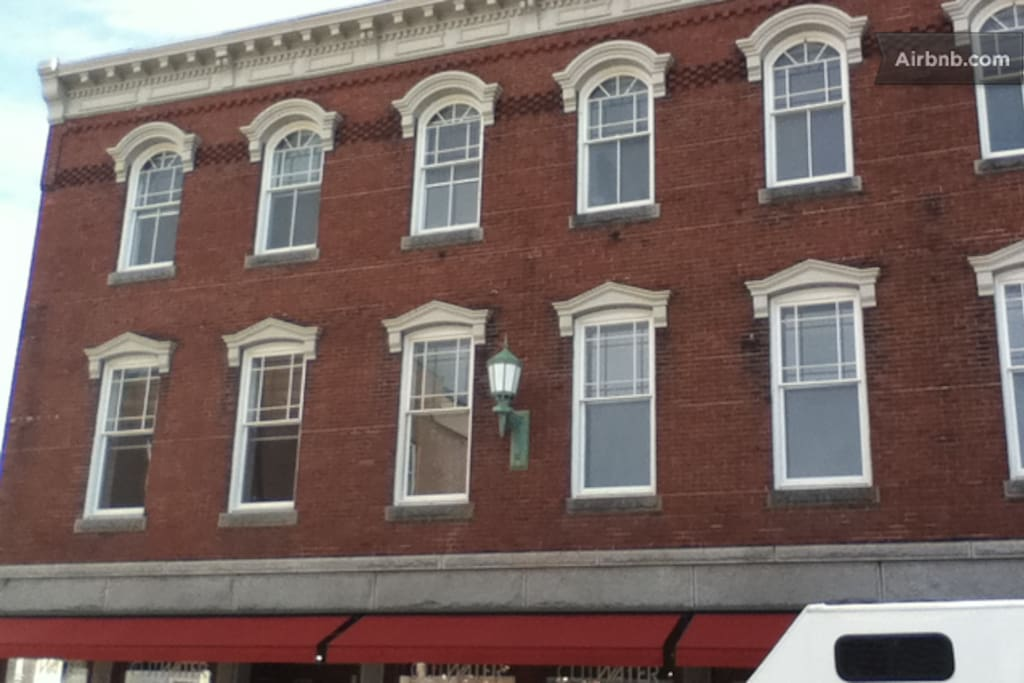 The apartment is on the top floor of this historic building in the heart of Main Street, just above 3Crow Restaurant and Bar.