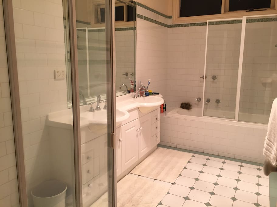 Bathroom with two showers, one over bath
