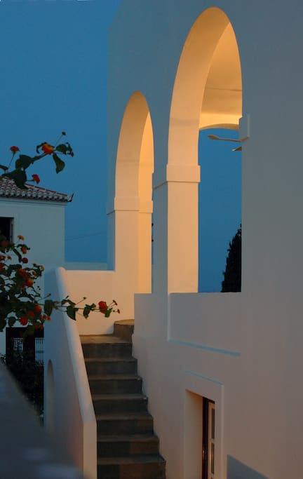 Stairs leading to the veranda