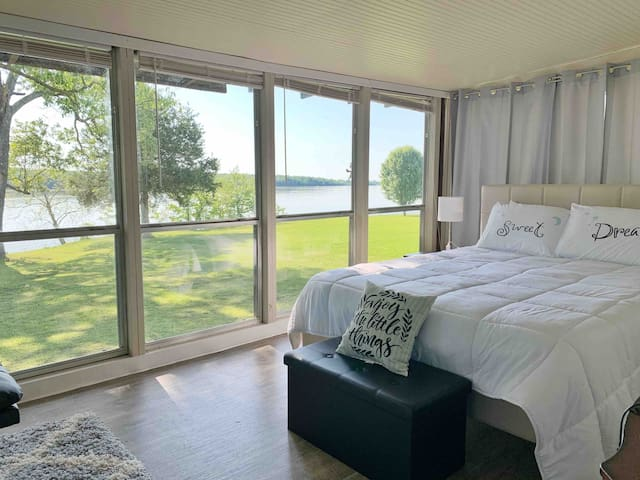 Bedroom with lake views