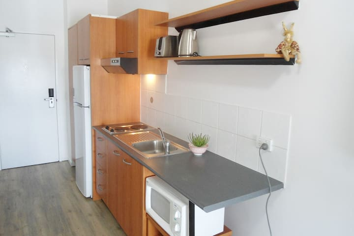 Kitchen with big fridge, cooktop and microwave.