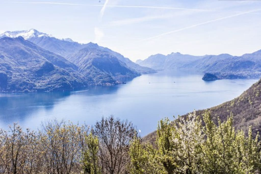 View of Como Lake from the woods above Rezzonico; in the middle, the Bellagio peninsula