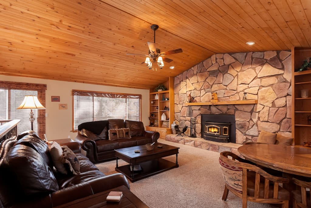 Huge Living Area with High Wooden Beamed Ceilings.