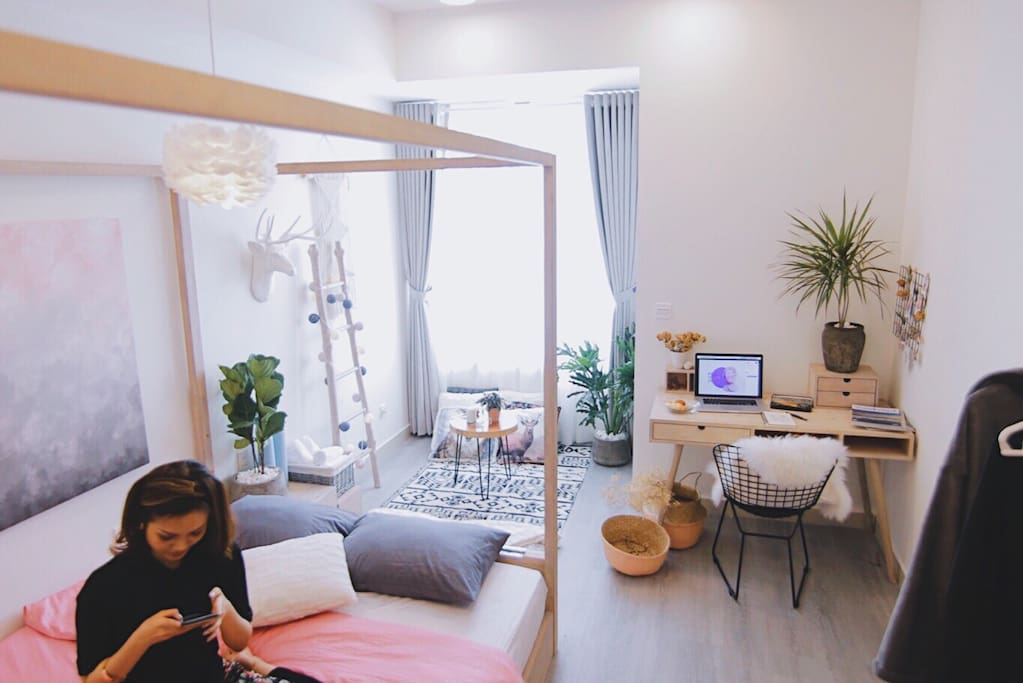 Our charming Scandinavian style apartment on the 18th floor, Block B, RiverGate Building in District 4, Saigon.  Do you see it very gorgeous and attractive in Airbnb Hochiminh City?