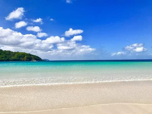 Pristine white beach and crystal clear water