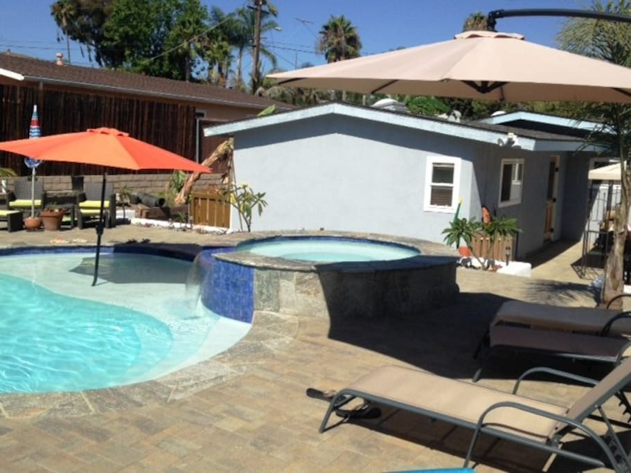 Upper Patio, Spa, and pool with shaded baja shelf.