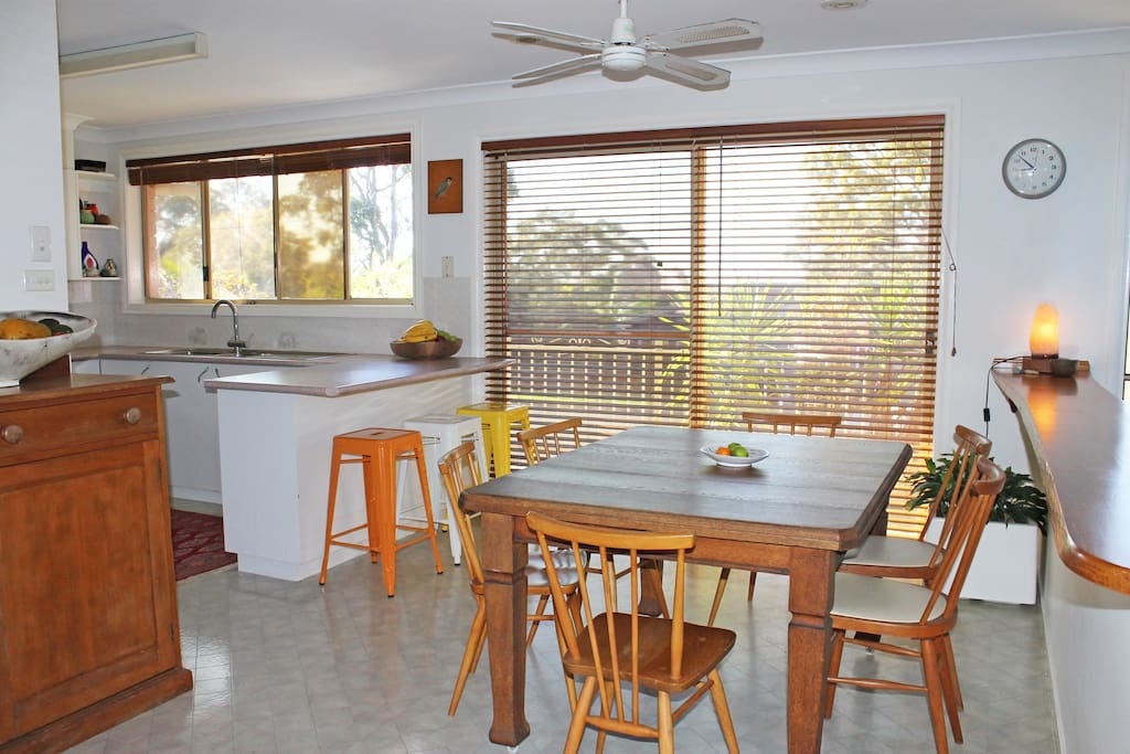 kitchen dining and breakfast bar faces east to sunrise