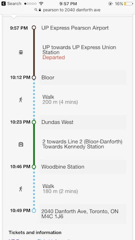 Public transit from Pearson Airport: take UP Train to Union Station. Then subway train to Woodbine Subway Station. Or approximately 45 minute taxi or Uber ride to apartment from Pearson Airport.