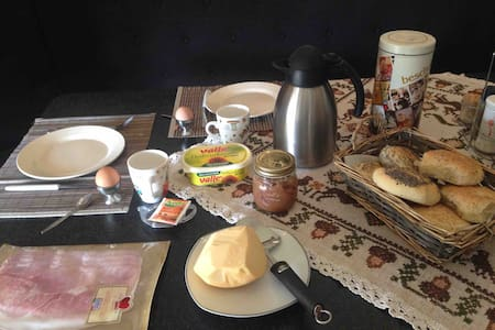 Breakfast with homemade bread