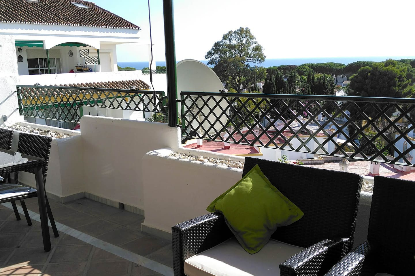 Double balcony faces south overlooking the sea