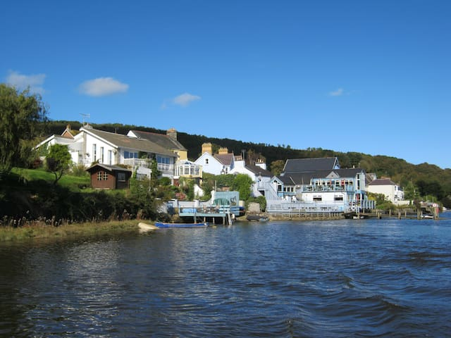 The view of the whole house from the River Teifi