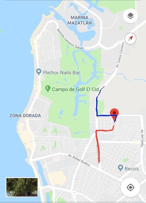 Ubicación, a 5 minutos de la zona dorada, playas y centros comerciales.