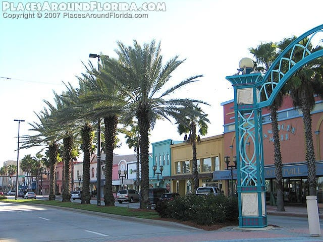 Beach St, downtown Daytona Beach has restaurants, antique shops and a chocolate factory