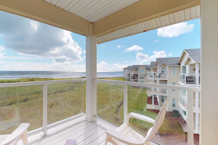 Dog-friendly, waterfront condo w/private washer/dryer, free WiFi, & ocean views