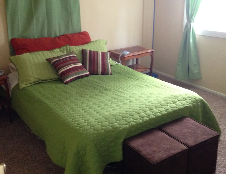 The Color Room features a queen bed, bright window and closet for all your needs.