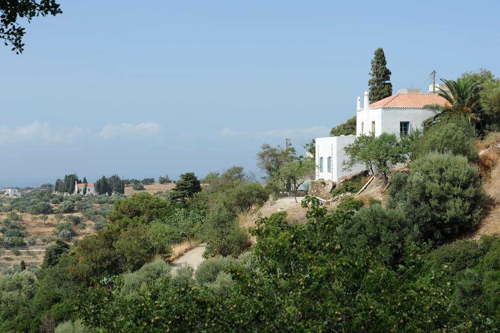 Villa Ninon sits at the edge of the village of Karavas, overlooking the lush valley below and the sea and mountains to the north.