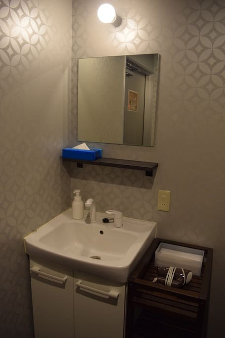 Sink and hair dryer in the room