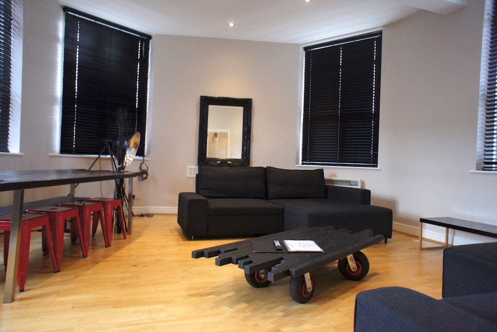 Here's your living room with two double sofa beds for the extra guests