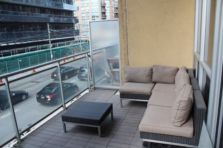 I've been lucky to have one of the larger patios in the building overlooking King St.