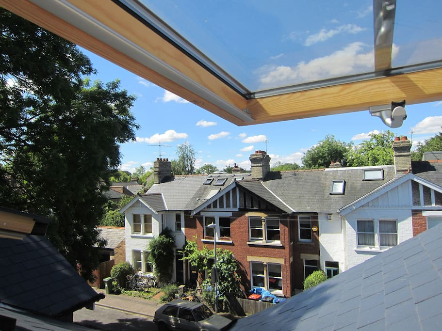 View from the velux window over the rooftops.