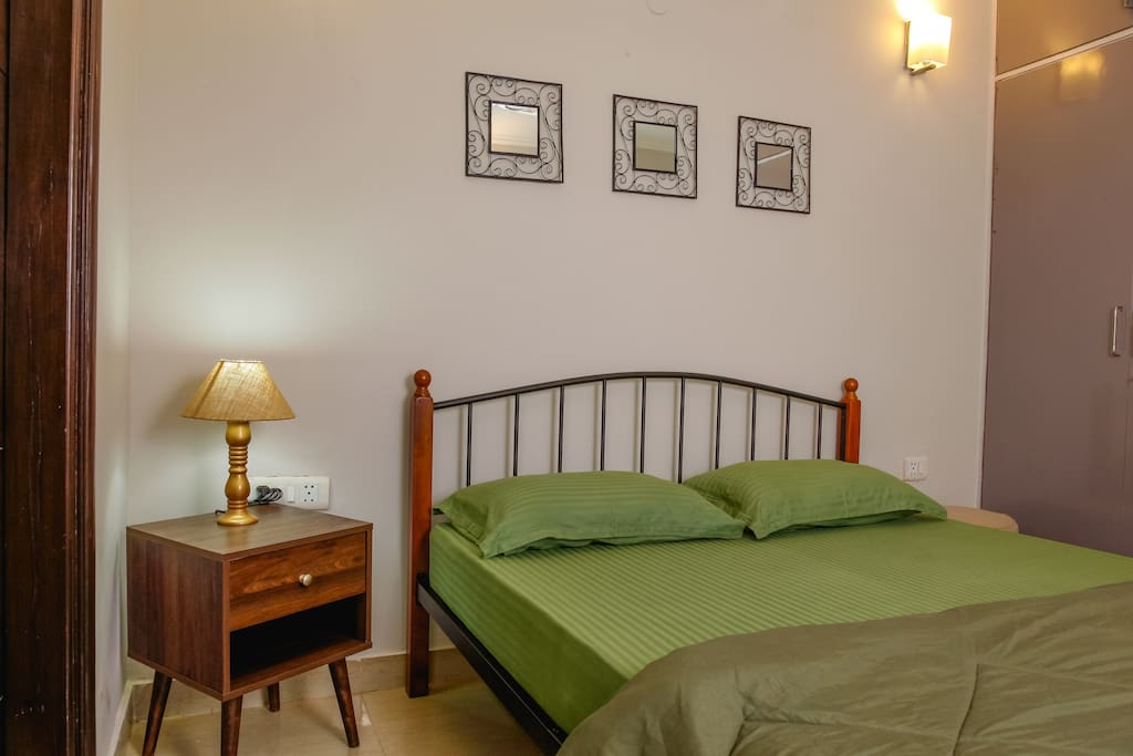 Sunny, Airy & Clean Bedroom with 8 Inch spring mattress and cotton Linen.