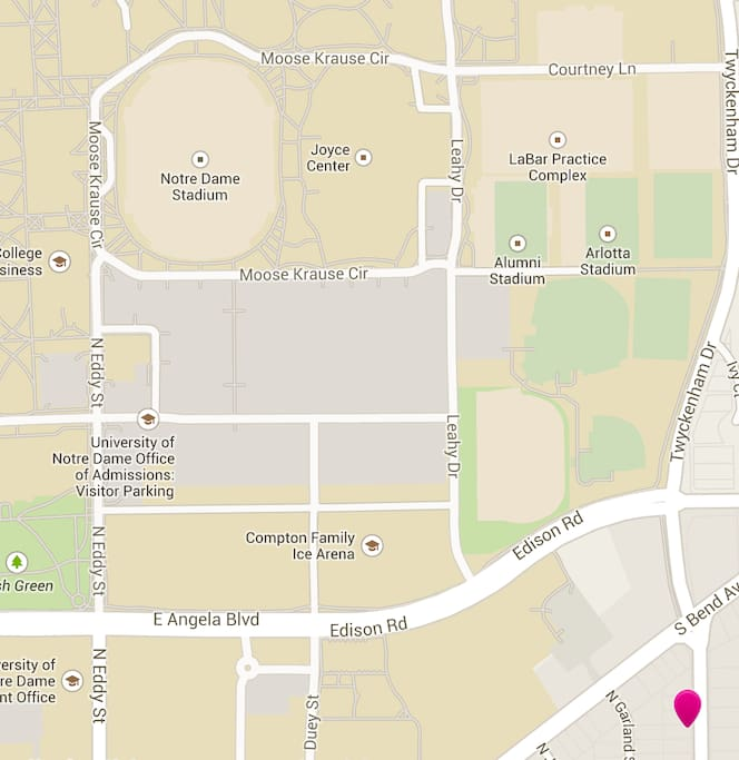 The beige represents campus and the marker in the lower right is the house.  As close as you can get without staying on campus!