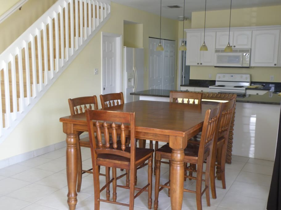 Dining Room seats 6 (Cafe Style Table).  Bright and Airy First Floor Kitchen!