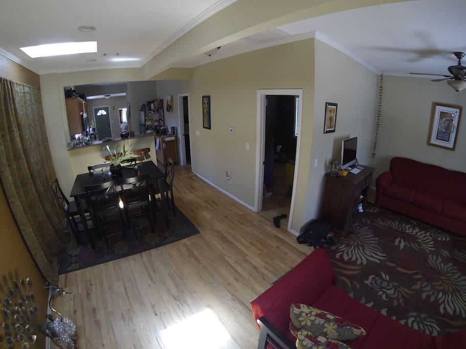 Open floor plan from entrance through dining are and kitchen!
