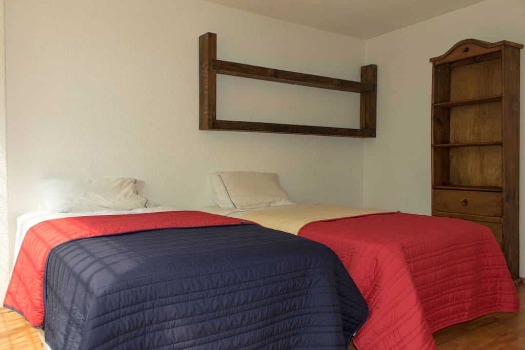Two single beds, with hotel-type mattress, fireproof, very resistant, they do not keep moths or mites.
