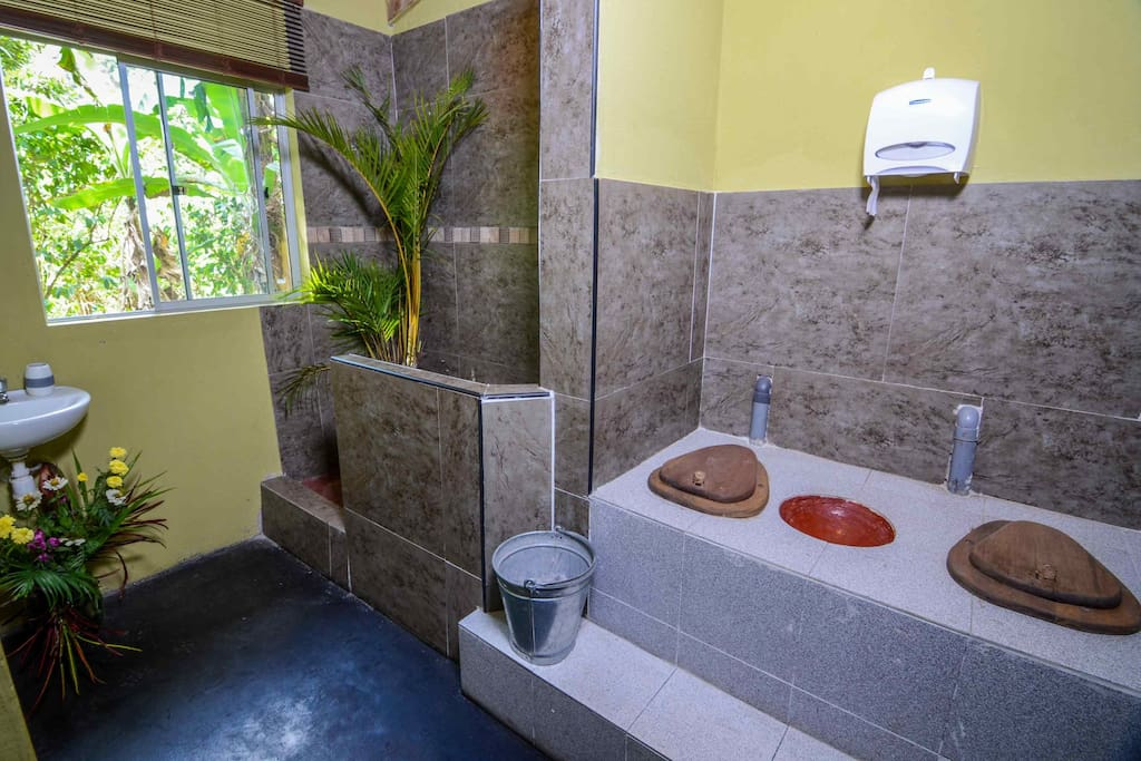 The shared bathroom for our first 3 rooms.