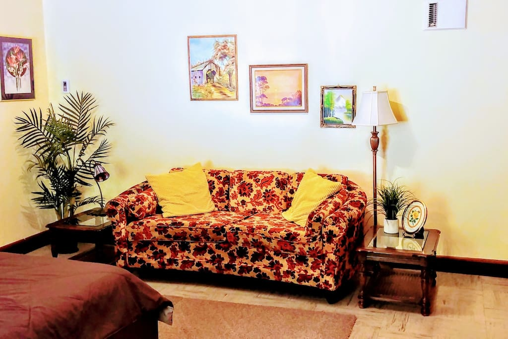 Vintage couch and 70's art