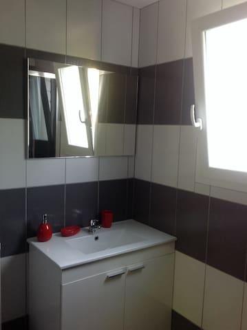 Évier et toilette à gauche (non visible)