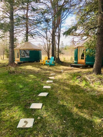 Stepping stones across back lawn leading to yurts.  Puffin on the right. Adirondack chairs for relaxing outside.