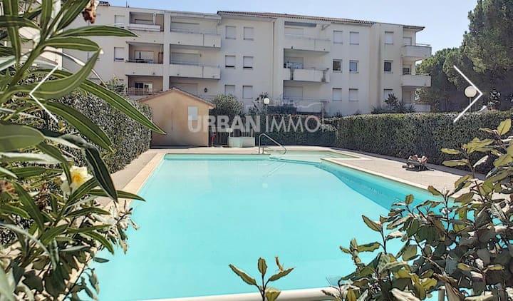 Appartement T2 résidence sécurisée avec piscine.