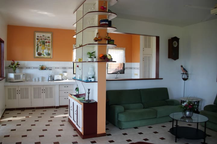 Living, dinning and kitchen all with easy reach yet separate