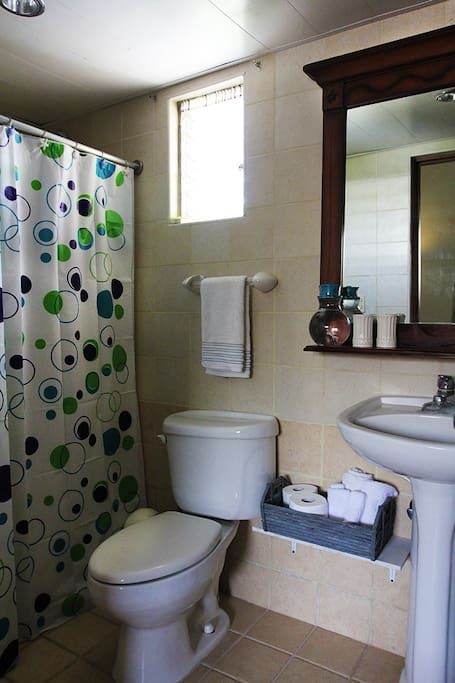 Private bathroom with fresh towels & beach towels