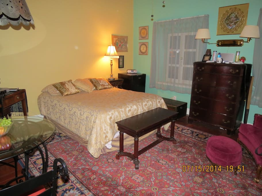 Comfy Double Bed and antique furnishings.