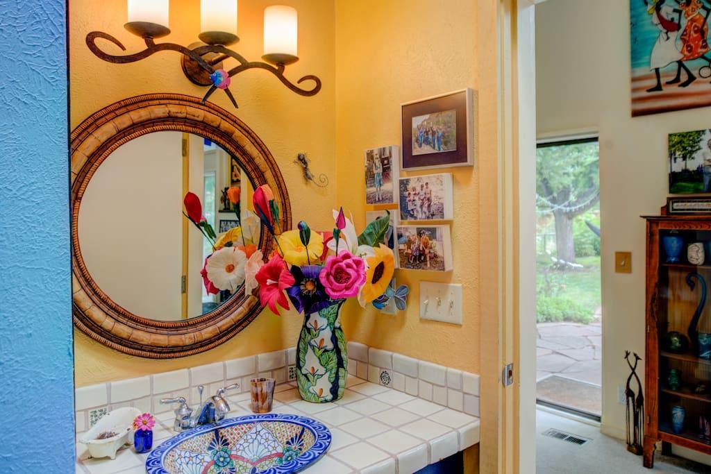 You'll enjoy the colorful Mexican bathroom.