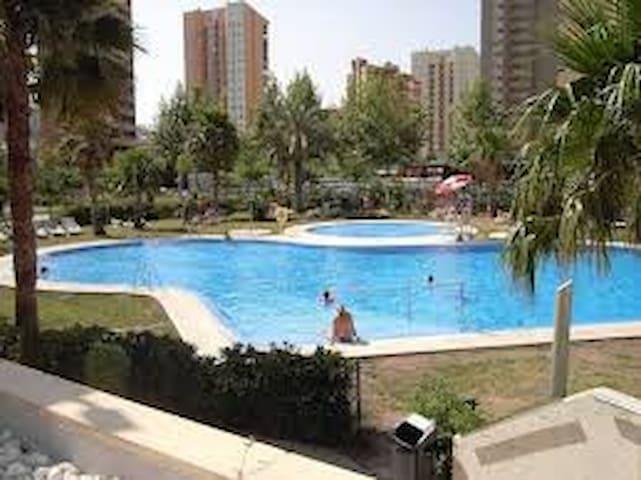 La piscina comunitaria, con piscina infantil y zona ajardinada.
