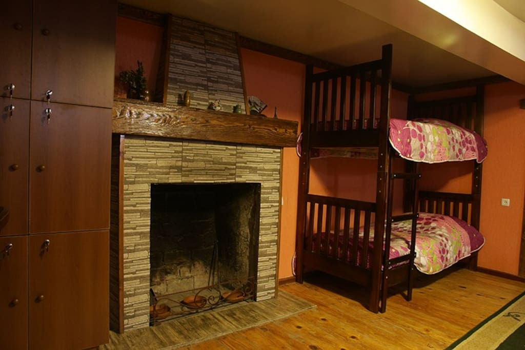 Fireplace in 6-Bed dormitory