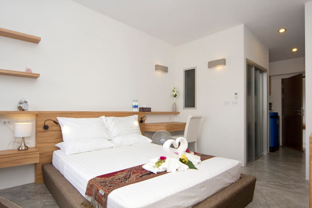 Comfortable queen size bed.  All our sheets and towels are professionally cleaned.