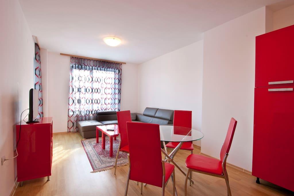 Living room + kitchen.