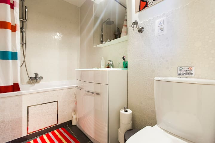big bathroom with integrated hands free shower ! Duo-bath size.