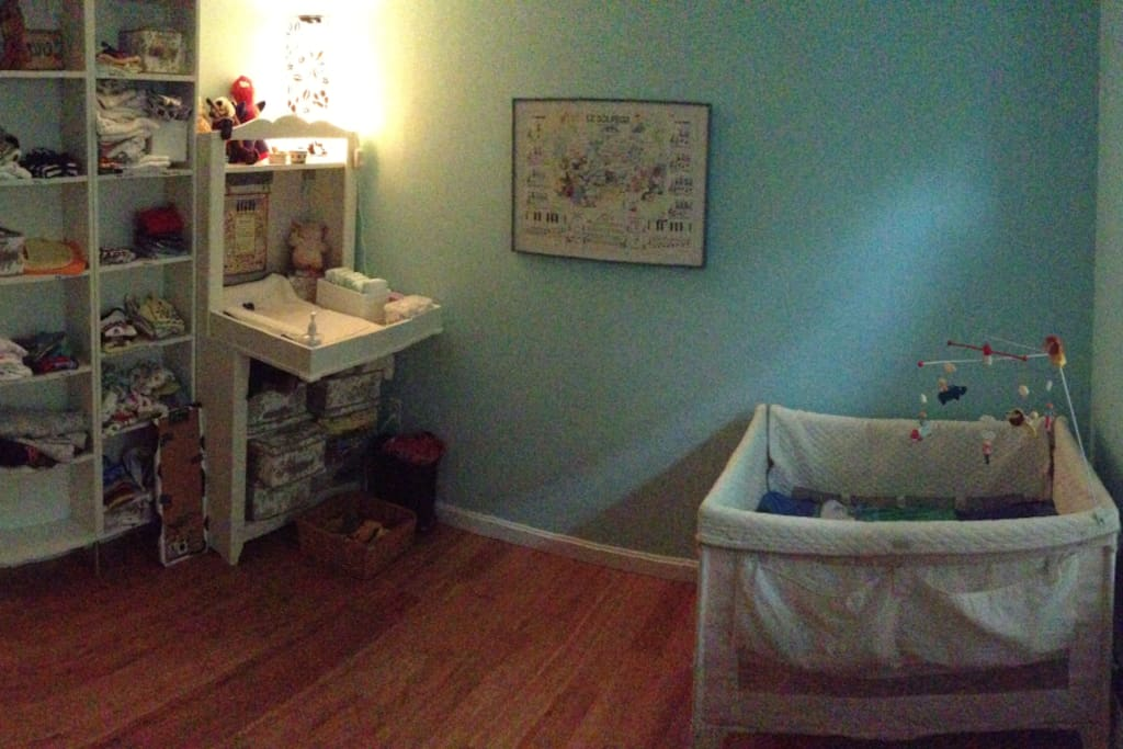 2nd bedroom - our son's bedroom. You can use his crib or we can store it and put in the queen-size Aerobed.