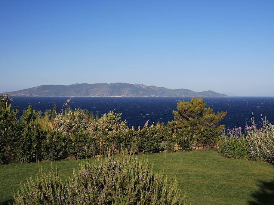 Main part of the garden over looking the island of Giglio