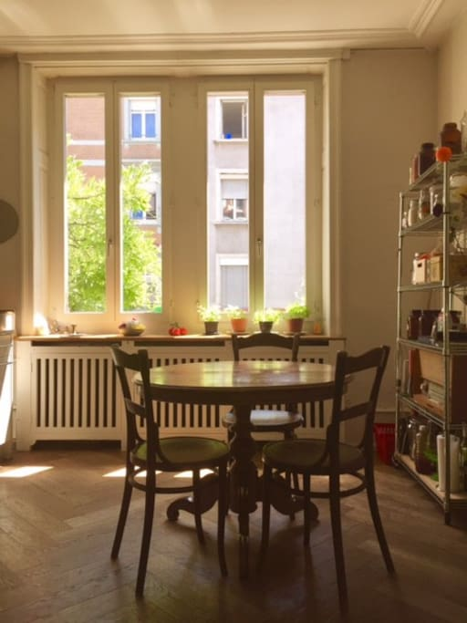 The flat has a bright, eat-in kitchen with all the amenities needed